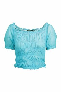 Womens All Over Ruched Mesh Top - azure - 14, Azure