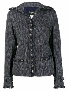 Chanel Pre-Owned 2008's herringbone fitted jacket - Blue