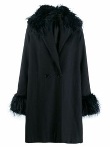 Romeo Gigli Pre-Owned 1990's fur trimming knee-length coat - Blue