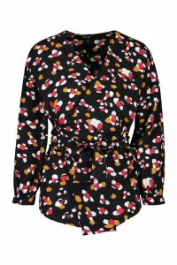 Womens Leopard Print Wrap Top - black - L, Black