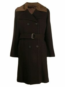 Romeo Gigli Pre-Owned 1990's double-breasted belted midi coat - Brown