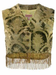 Romeo Gigli Pre-Owned 1990's brocade fringed waistcoat - Green