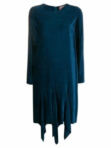 Romeo Gigli Pre-Owned 1990's textured asymmetric dress - Blue