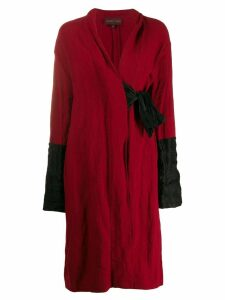 Romeo Gigli Pre-Owned 1990's side-tied midi coat - Red