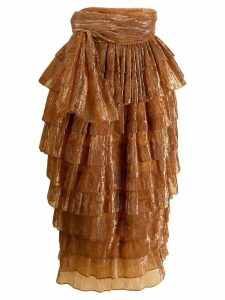 Romeo Gigli Pre-Owned 1990's ribbed ruffled midi skirt - Orange