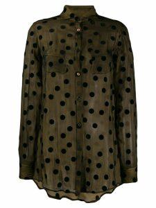 Romeo Gigli Pre-Owned 1990's sheer polka dots shirt - Brown