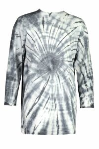 Womens Tie Dye Oversized Cotton T Shirt Dress - white - 8, White