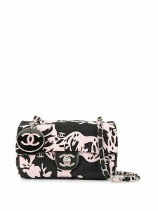 Chanel Pre-Owned flower print chain shoulder bag - Black