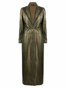 Romeo Gigli Pre-Owned 1990's metallic long coat - Green