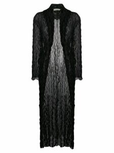 Romeo Gigli Pre-Owned 1990's crunched sheer long coat - Black
