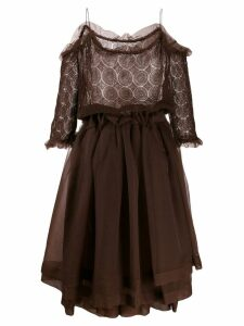 Romeo Gigli Pre-Owned 1990's sheer layered dress - Brown