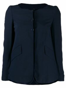 Romeo Gigli Pre-Owned 1990's contrast piping collarless jacket - Blue