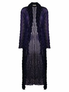 Romeo Gigli Pre-Owned 1990's crunched sheer long coat - Blue