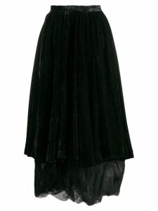 Romeo Gigli Pre-Owned 2000's velvet layered skirt - Black