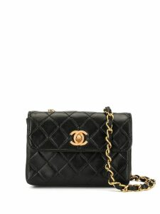 Chanel Pre-Owned mini diamond quilted crossbody bag - Black