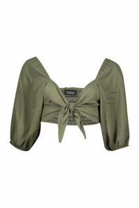 Womens Woven Viscose Volume Sleeve Tie Front Crop Top - green - 10, Green