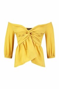Womens Linen Look Off The Shoulder Top - yellow - 10, Yellow