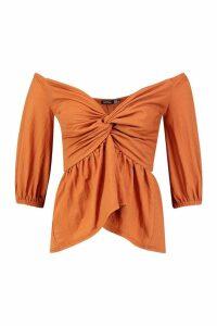 Womens Linen Look Off The Shoulder Top - orange - 8, Orange