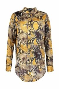 Womens Snake Print Satin Shirt - yellow - M, Yellow