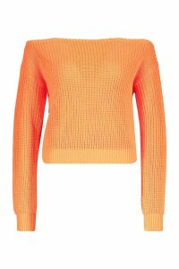 Womens Slash Neck Crop Fisherman Jumper - orange - M, Orange