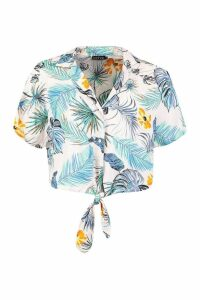 Womens Tropical Print Tie Front Shirt - Pink - XS, Pink