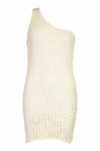 Womens Crochet Knit One Shoulder Mini Dress - white - M, White