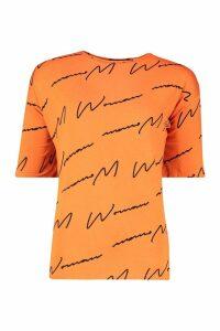Womens Woman Script Tee - orange - 18-20, Orange