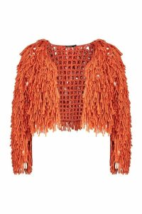 Womens Shaggy Knit Cardigan - orange - S, Orange