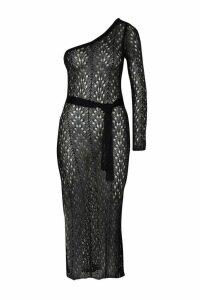 Womens One Shoulder Metallic Knitted Dress - black - L, Black