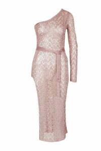 Womens One Shoulder Metallic Knitted Dress - pink - M, Pink