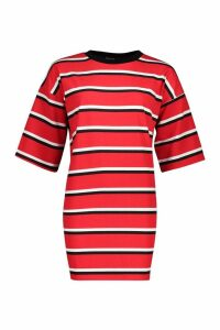 Womens Oversized Stripe T-Shirt Dress - red - M/L, Red