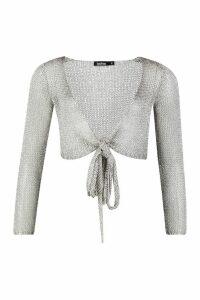 Womens Metallic Tie Front Long Sleeve Crop Top - grey - M, Grey