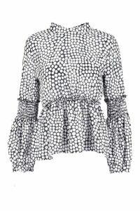 Womens Leopard Spot Woven Shirred Balloon Sleeve Blouse - white - 10, White