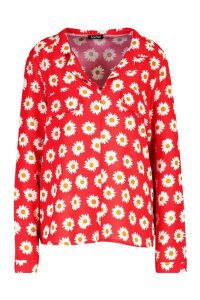 Womens Floral Utility Pocket Shirt - red - 14, Red