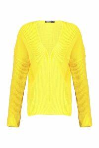 Womens Oversized Rib Cropped Cardigan - yellow - L, Yellow