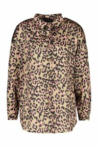 Womens Satin Print Oversized Shirt - brown - 10, Brown