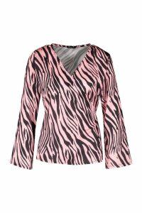 Womens Zebra Print Wrap Blouse - Pink - 8, Pink