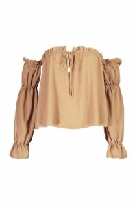 Womens Ruffle Cold Shoulder Top - beige - 14, Beige