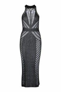 Womens Metallic Knit Maxi Dress - black - M, Black