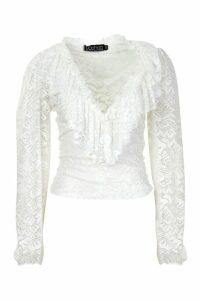 Womens Lace Ruffle Blouse - white - 10, White