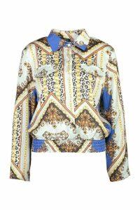 Womens Satin Chain Print Sheered Hem Shirt - blue - 12, Blue
