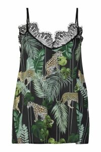 Womens Lace Detail Palm Print Cami Top - black - 14, Black