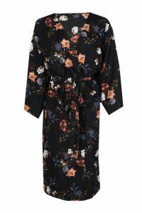Womens Oriental Tie Waist Kimono - black - M, Black