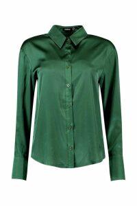 Womens Premium Satin Shirt - green - 14, Green