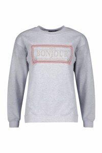 Womens Bonjour Slogan Sweat - grey - L, Grey