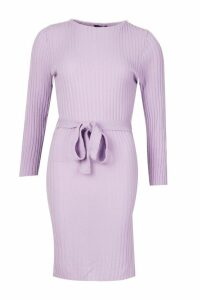 Womens Belted Split Side Knitted Midi Dress - purple - M, Purple