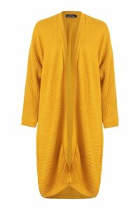 Womens Cocoon Oversized Rib Knit Cardigan - yellow - M/L, Yellow