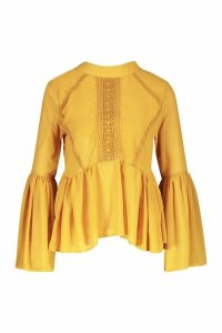 Womens Woven Crochet Detail Pep Hem Blouse - yellow - 14, Yellow