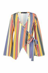 Womens Stripe Wrap Top - yellow - 6, Yellow