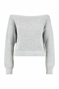 Womens Slash Neck Crop Fisherman Jumper - grey - XL, Grey